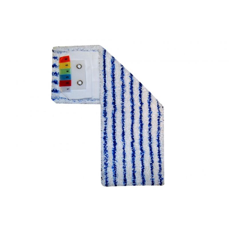 Bandeau de lavage rayé blanc bleu à poches et languettes
