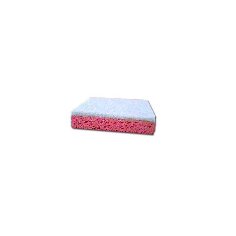 Eponge végétale rose avec récurant blanc 111mm Lot de 10