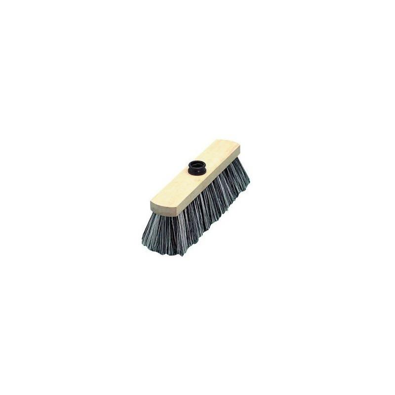 Balai sol ciment en nylon monture bois 29cm à douille