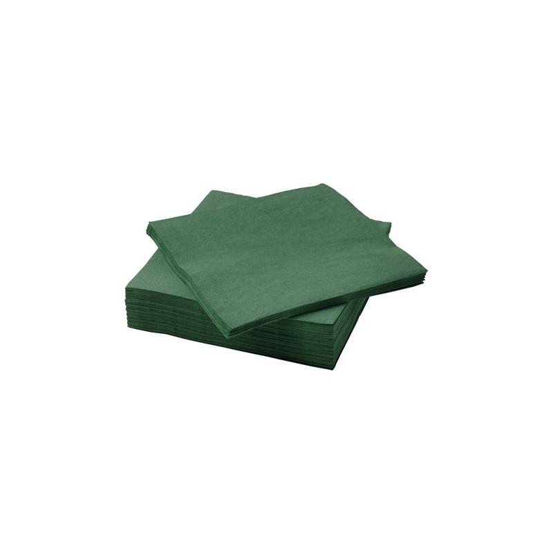Serviette de table en papier couleur verte 40x40 SATEN 1/4