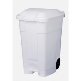 Poubelle conteneur mobile à pédale 70L Blanc