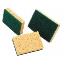 Eponge végétale blonde avec récurant vert 130mm Lot de 10
