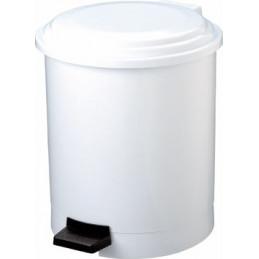 Poubelle à pédale en plastique blanche 12L PLASTY