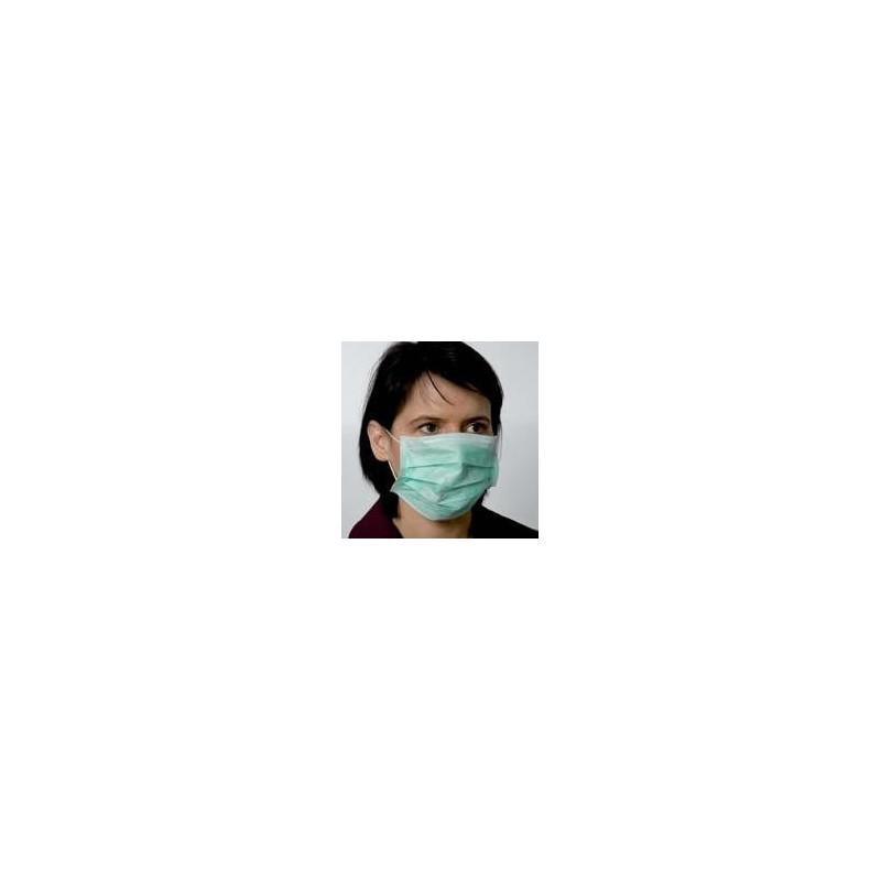 Masque visiteur 3 plis vert Lot de 50