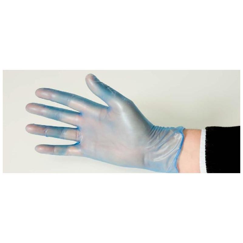 Gant jetable en vinyle bleu poudré PARMADIS Lot de 100